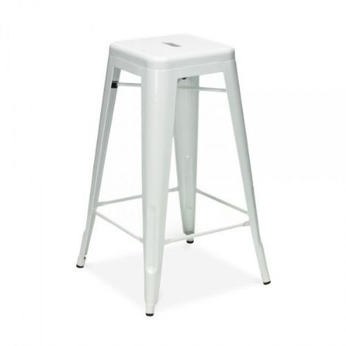 4x Tolix Metal Barstool Stackable Dining Barstool, White